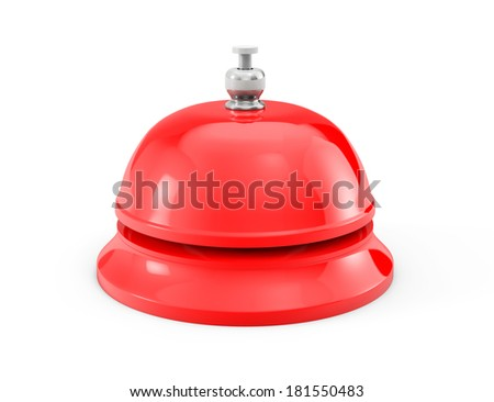 Red Service bell ring on a white background - stock photo