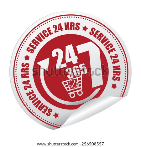 Red 24 7 365 Service 24 HRS Shopping Center or E-Commerce Service Sticker, Icon or Label Isolated on White Background  - stock photo