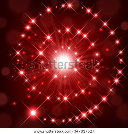 Red shine with sparkle forming spiral background - stock photo