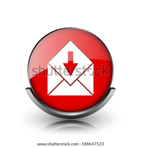 Red shiny glossy icon on white background - stock photo