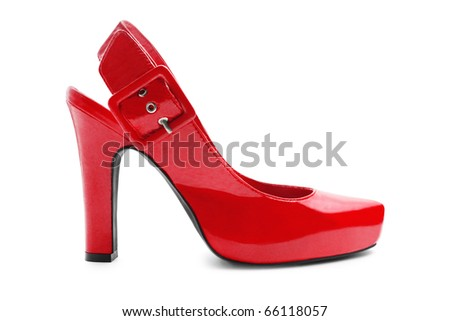Red shoe isolated on white - stock photo