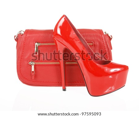 red shoes and clutch bag isolated on white - stock photo