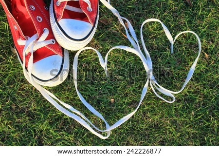 Red shoes with Lovely Heart,Valentine background.  - stock photo