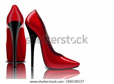Red shoes, women's sharp nose - stock photo