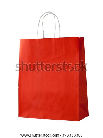 Red shopping bag on white. - stock photo