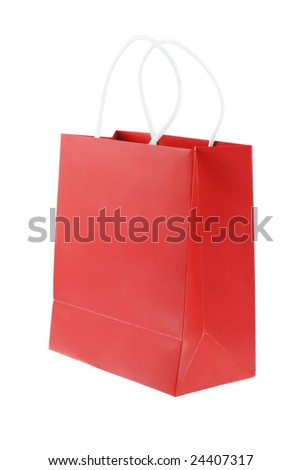 Red shopping bag on white background with copy space - stock photo
