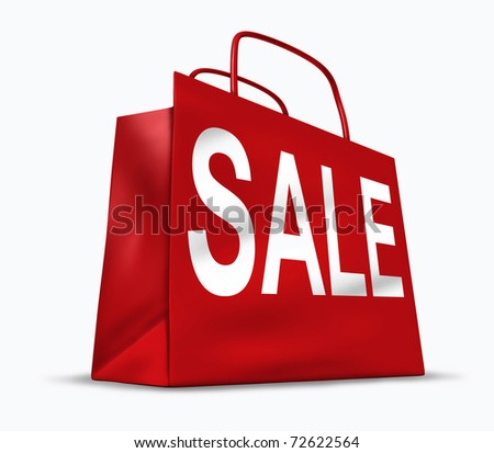 Red shopping bag with the word sale on it representing the concept of retail consumers and shoppers looking for bargains and low prices at the mall or department stores.. - stock photo