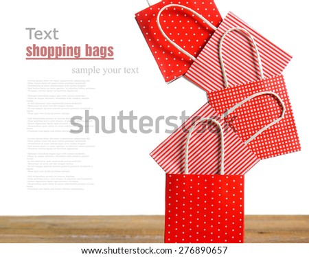 red shopping bags - stock photo