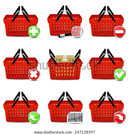 Red shopping basket icons - stock photo