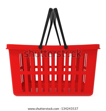 Red Shopping Basket isolated on white - 3d illustration - stock photo