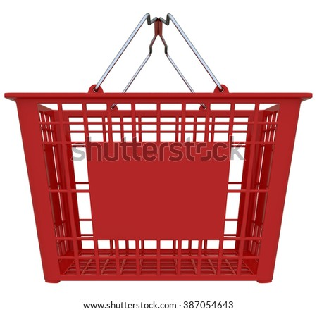 Red Shopping Basket Isolated Over White Background - Copy Space - stock photo