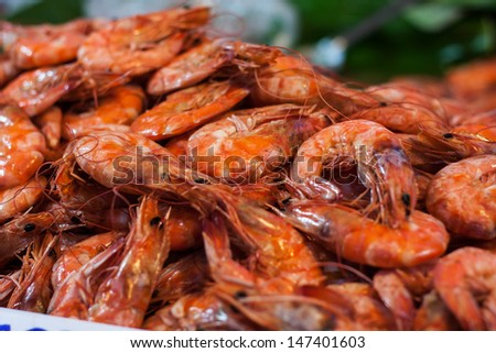 Red shrimp fried - stock photo