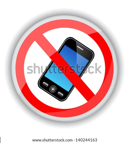 red sign banning cell phones. A sign on a white background - stock photo