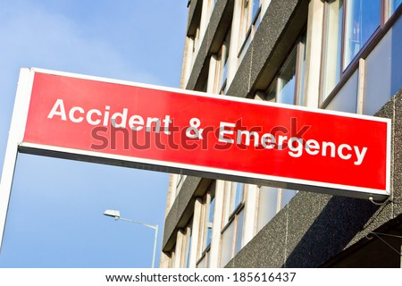 Red sign for an emergency department at a hospital - stock photo