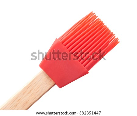 Red Silicone Brush cooking kitchen isolated on white background - stock photo