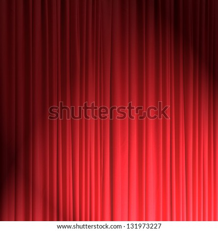 red silk curtain background - stock photo