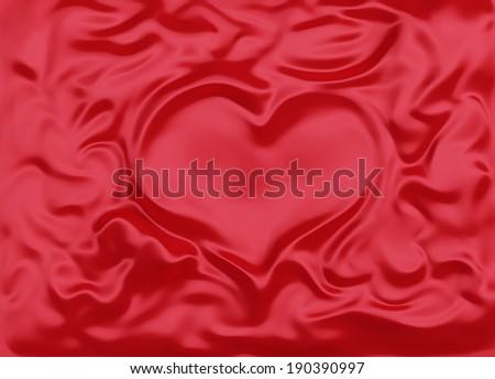 Red silk fabric folded like heart - stock photo