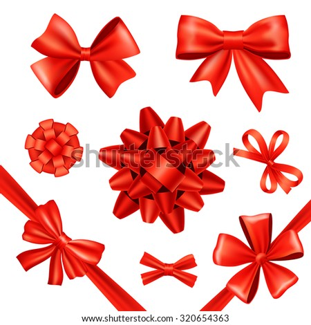 Red silk gift bows and celebration ribbons set isolated  illustration - stock photo