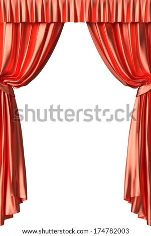 Red silk theater curtain with gathers under the lights  on white background - stock photo