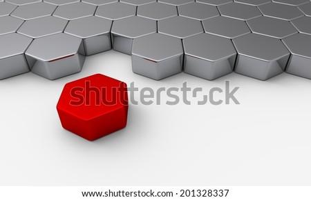 red silver 3d brick concept - stock photo