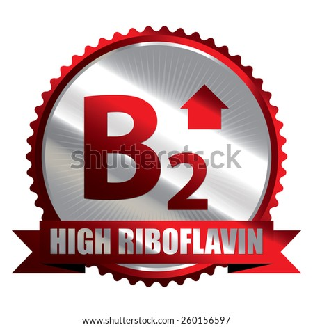 Red Silver High Riboflavin B2 Vitamin Ribbon, Badge, Icon, Sticker, Banner, Tag, Sign or Label Isolated on White Background - stock photo