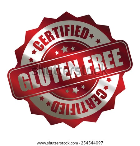 red silver metallic gluten free certified sticker, banner, sign, icon, label isolated on white - stock photo