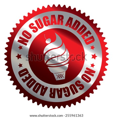 Red Silver Metallic No Sugar Added Ice Cream Badge, Icon, Label, Banner, Tag or Sticker Isolated on White Background  - stock photo
