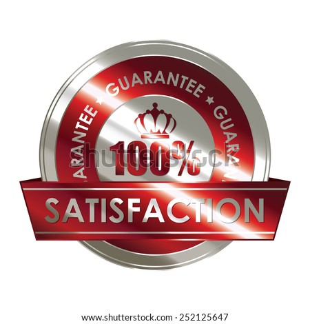 red silver metallic 100% satisfaction guarantee medal, sticker, sign, badge, icon, label isolated on white - stock photo