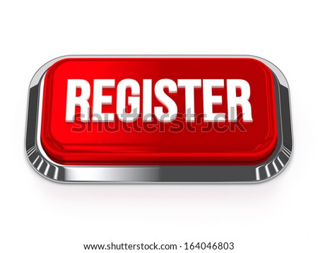 Red silver register button with metallic border - stock photo