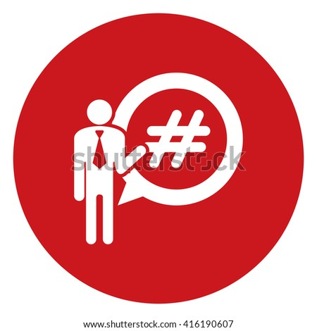 Red Simple Circle Businessman With Hash Tag Speech Bubble Balloon Infographics Flat Icon, Sign Isolated on White Background - stock photo
