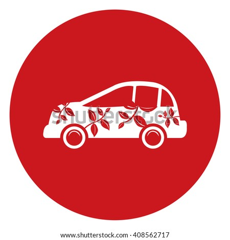 Red Simple Circle Eco Car Infographics Flat Icon, Sign Isolated on White Background - stock photo
