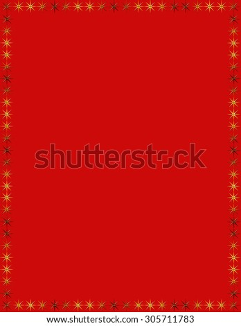 Red simple frame with stars .  - stock photo
