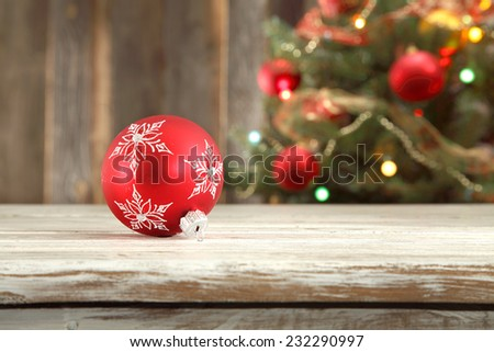 red single ball of xmas time  - stock photo