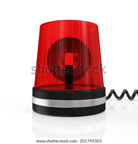 Red Siren isolated on white background - stock photo