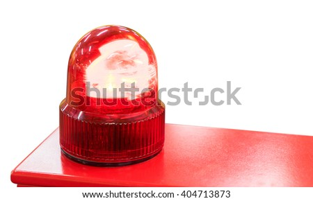 Red Siren light isolated on white background - stock photo