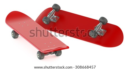 red skateboards isolated on white background - stock photo