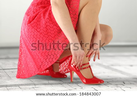 red skirt and woman  - stock photo