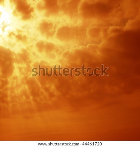 Red sky at sunset. - stock photo