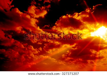 Red sky of incoming attack or threat. Incoming missile, meteorite, asteroid, etc.  - stock photo