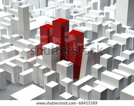 Red skyscrapers in modern city district - stock photo