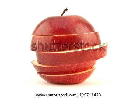 Red sliced apple isolated on white background cutout - stock photo