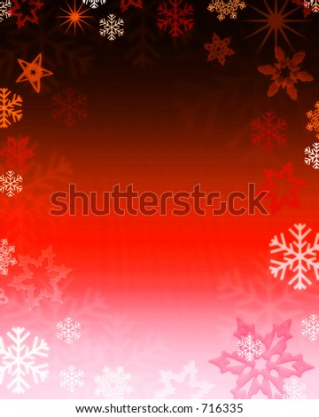 red snowflake background - stock photo