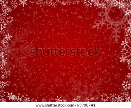 Red Snowflake background A raster red snowflake background. Horizontal. - stock photo