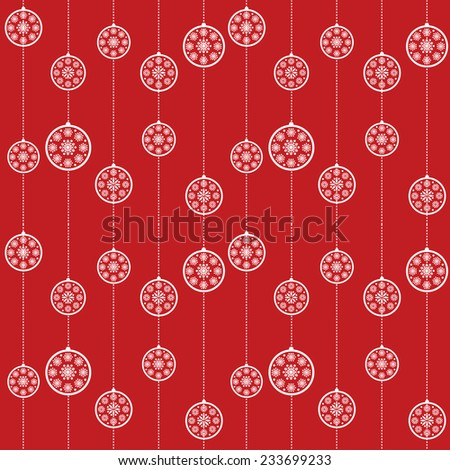 Red snowflake Christmas baubles pattern background - stock photo