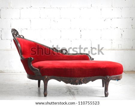Red sofa - stock photo