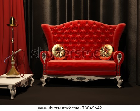Red sofa and  hookah in interior. Drapery. - stock photo