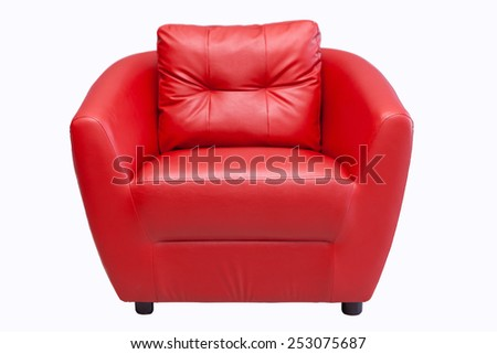 Red sofa isolated on white backgraound  - stock photo