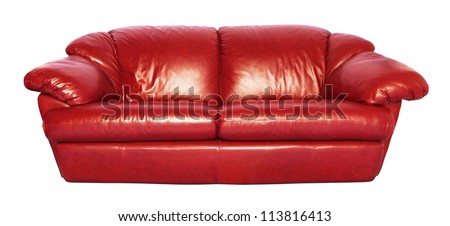 Red Sofa isolated on white background - stock photo