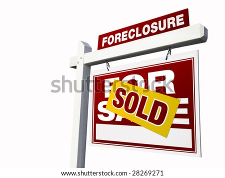 Red Sold Foreclosure Real Estate Sign Isolated on White. - stock photo