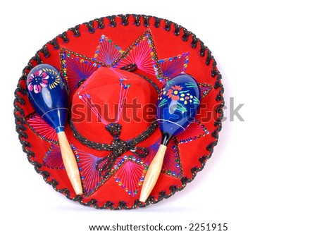 Red Sombrero Isolated on White - stock photo
